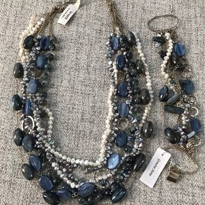 Blue Kyanite Necklace and Bracelet with pearls.